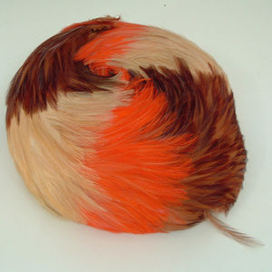 Vintage hat mod round  brown and orange feathers